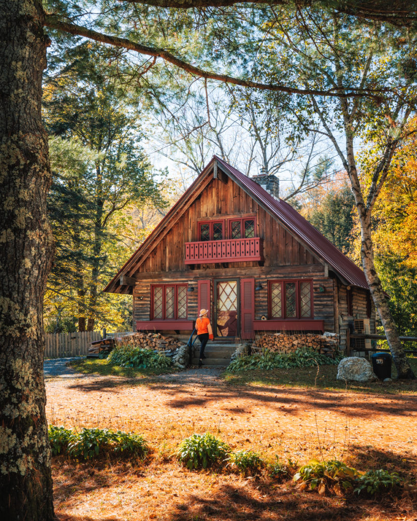 vermont cabin in the fall